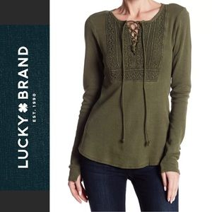 NWT Lucky Brand Thermal Long Sleeve Lace-Up Top